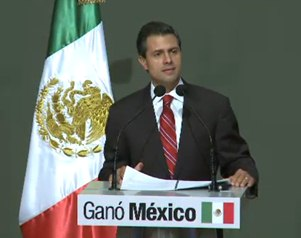 PRI candidate Enrique Peña Nieto addresses the public following his 6% victory over PRD's Andrés Manuel López Obrador in Sunday's elections. Photo: El Universal