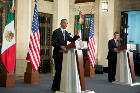 U.S. President Obama speaking at a press conference with Mexican President Peña Nieto in early May. Photo: Wikimedia Commons