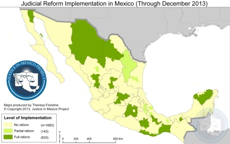 Map of municipalities operating under the NSJP. Image: Justice in Mexico
