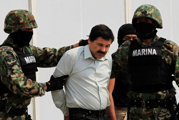 "El ""Chapo"" transported by the Mexican Navy. Photo: Reuters."